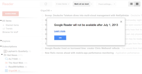 Anuncio Google Reader screenshot