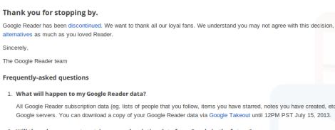Aviso Google Reader