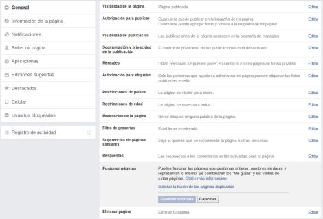 Fusionar Paginas Facebook Configuracion