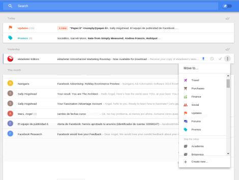 Google Inbox muestra