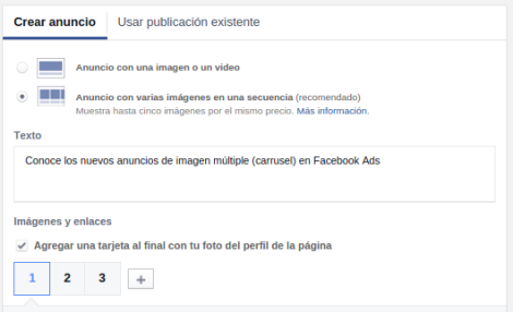 Power Editor Anuncios Carrusel Facebook Ads