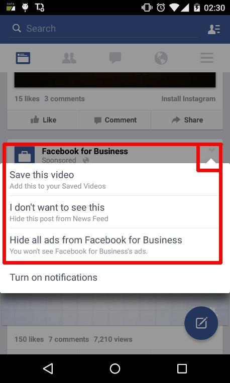 Bloquear publicidad politica Facebook app movil