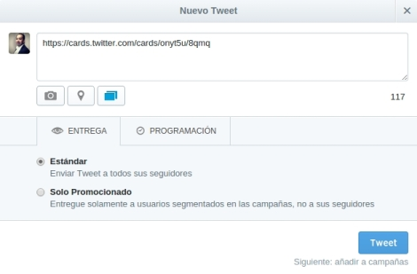 Creacion tweet website cards