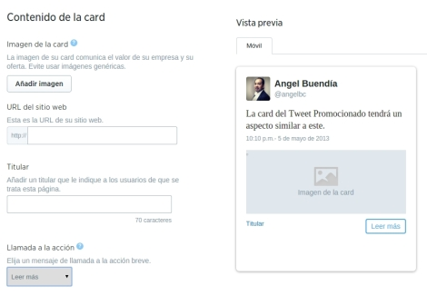 Creacion website card twitter