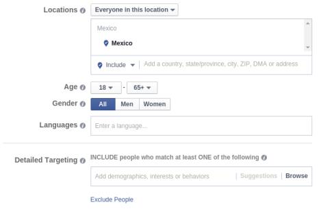 Segmentacion detallada Facebook ads