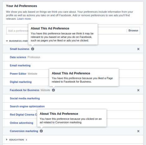 perfil de facebook intereses fuentes 4
