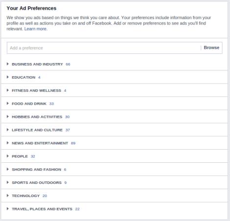 Perfil de Facebook intereses inicio